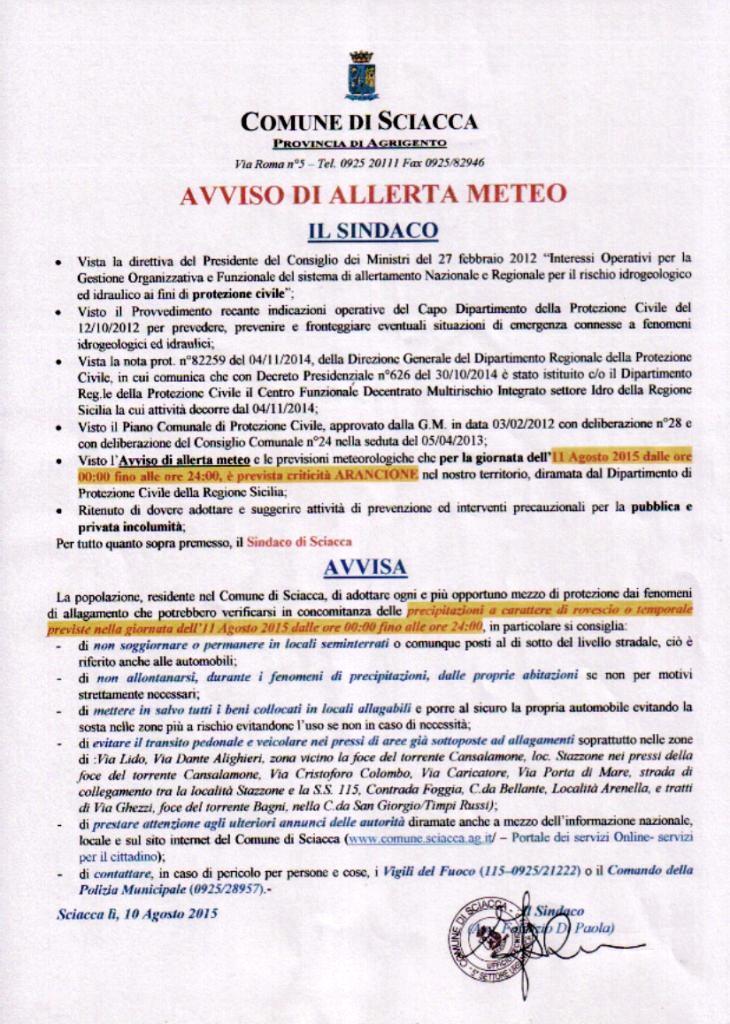 AVVISO ALLERTA METEO PER 11 AGOSTO 2015