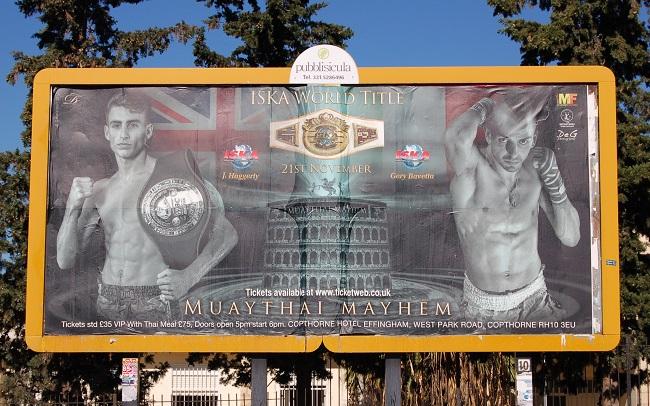 Bavetta Gery cartellone pubblicitario incontro boxe