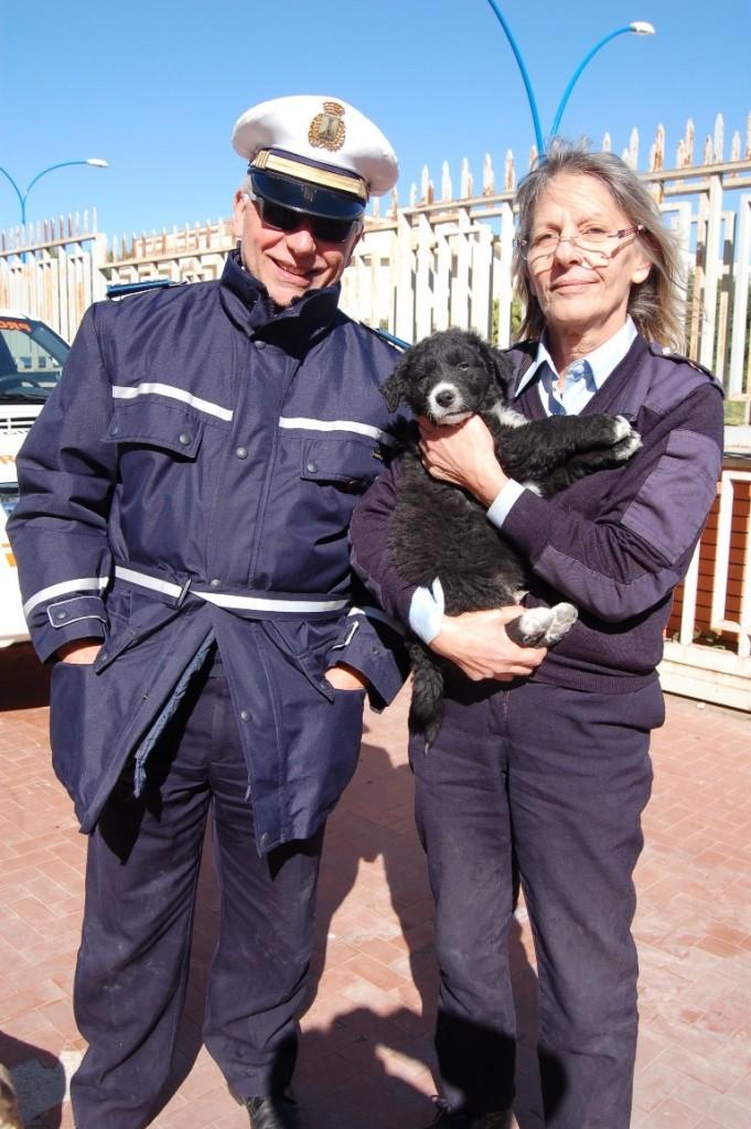 cucciolo in braccio ai vigili
