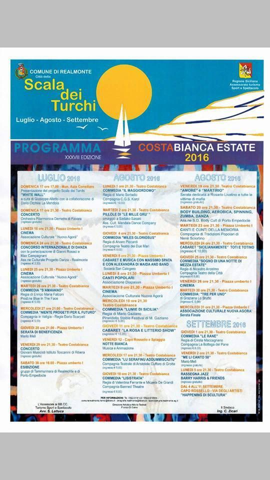 Realmonte Costa Bianca programma